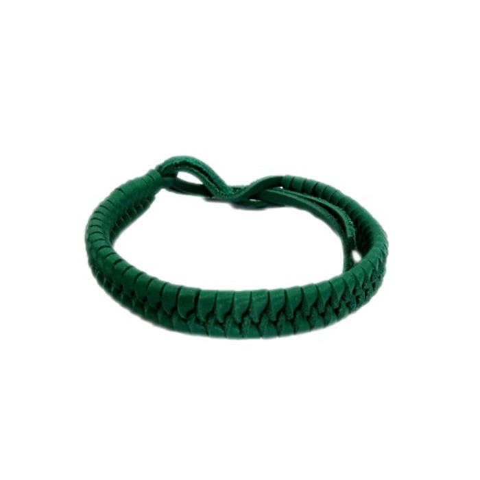 Pulseira couro de trançado verde- PUL001