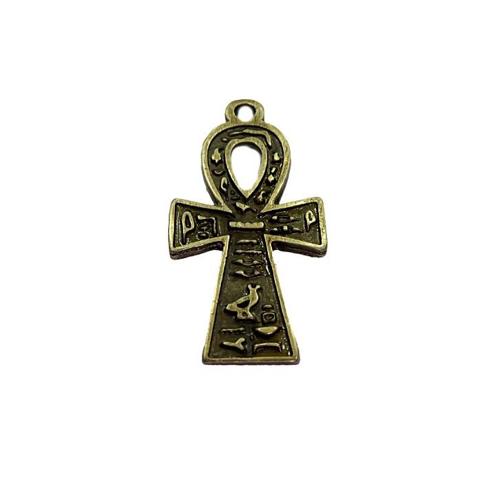 Pingente Cruz Egipcia ouro velho- PTO060