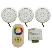 Kit 3 Luminárias LED para Piscina Luz RGB 18w com Controle e Controlador